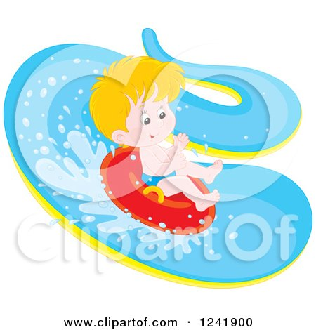 Clipart of a Happy Caucasian Boy Tubing down a Waterslide - Royalty Free Vector Illustration by Alex Bannykh