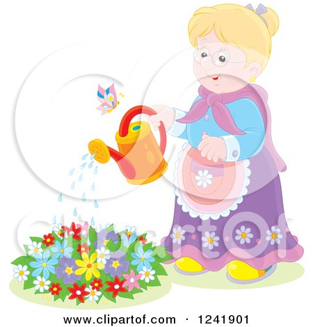 Clipart of a Happy Caucasian Senior Woman Watering a Garden - Royalty Free Vector Illustration by Alex Bannykh