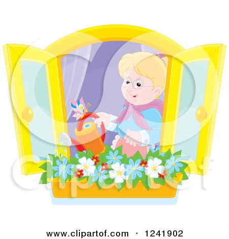 Clipart of a Happy Caucasian Senior Woman Watering a Window Planter Garden - Royalty Free Vector Illustration by Alex Bannykh