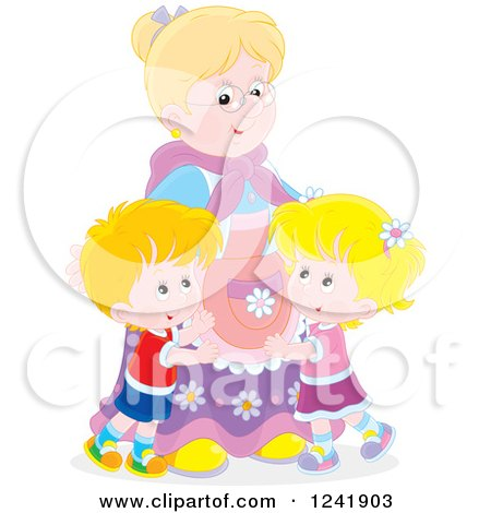 Clipart of Happy Grandchildren Hugging Their Granny - Royalty Free Vector Illustration by Alex Bannykh
