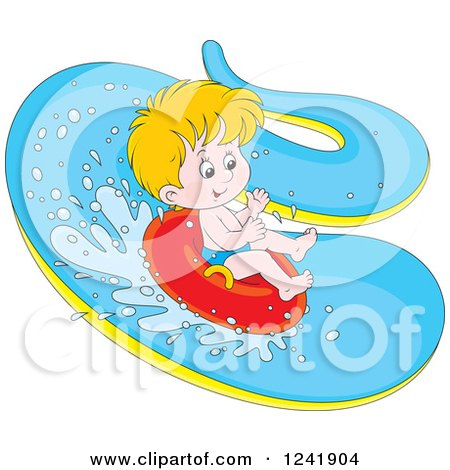 Happy Blond Boy Tubing down a Waterslide Posters, Art Prints