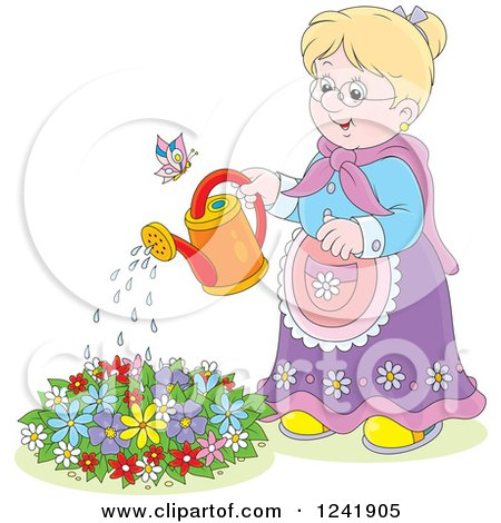 Clipart of a Happy Blond Senior Woman Watering a Garden - Royalty Free Vector Illustration by Alex Bannykh