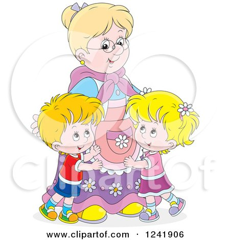 Clipart of Happy Grand Kids Hugging Their Granny - Royalty Free Vector Illustration by Alex Bannykh