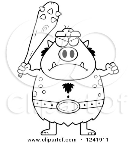 Clipart of a Black and White Mad Chubby Troll Holding a Club - Royalty Free Vector Illustration by Cory Thoman