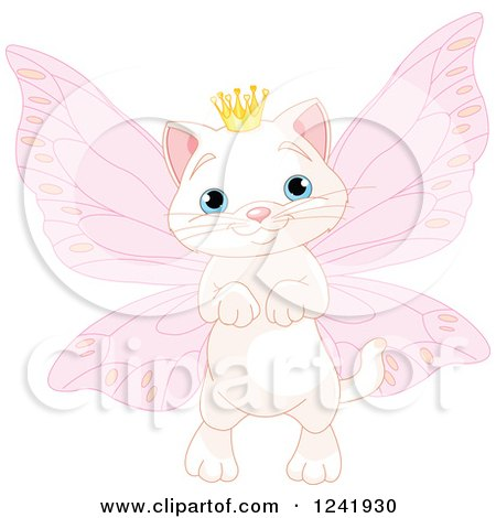 Clipart of a White Fairy Princess Cat - Royalty Free Vector Illustration by Pushkin