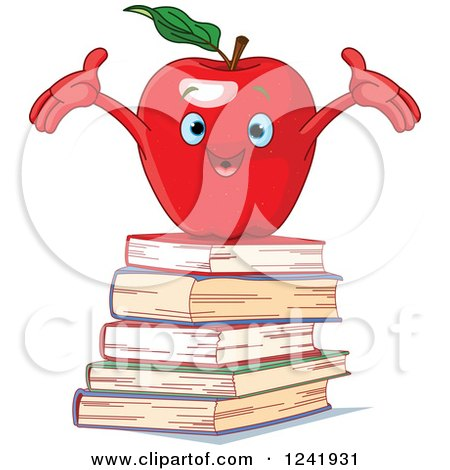 Clipart of a Cheering Red Apple on a Stack of Books - Royalty Free Vector Illustration by Pushkin
