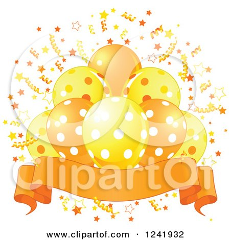 Clipart of a Bunch of Yellow and Orange Polka Dot Party Balloons, Confetti and a Banner - Royalty Free Vector Illustration by Pushkin