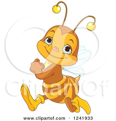 Clipart of a Cute Bee Running - Royalty Free Vector Illustration by Pushkin