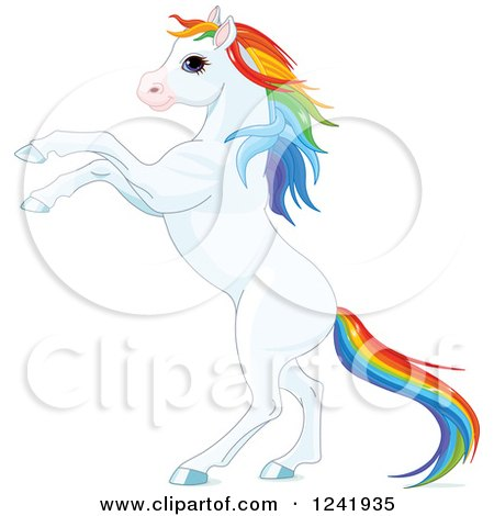 Clipart of a White Rearing Horse with Rainbow Hair - Royalty Free Vector Illustration by Pushkin