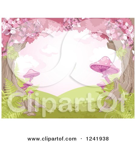 Clipart of a Tree Canopy of Cherry Blossoms and Pink Mushrooms - Royalty Free Vector Illustration by Pushkin