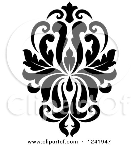 clipart of a black and white arabesque damask design 18 royalty rh clipartof com free damask pattern clip art