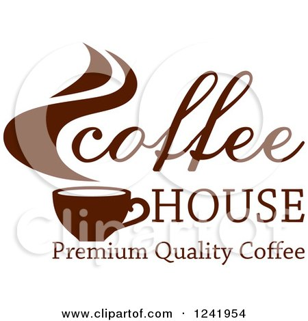Clipart of a Brown Coffee House Label 2 - Royalty Free Vector Illustration by Vector Tradition SM