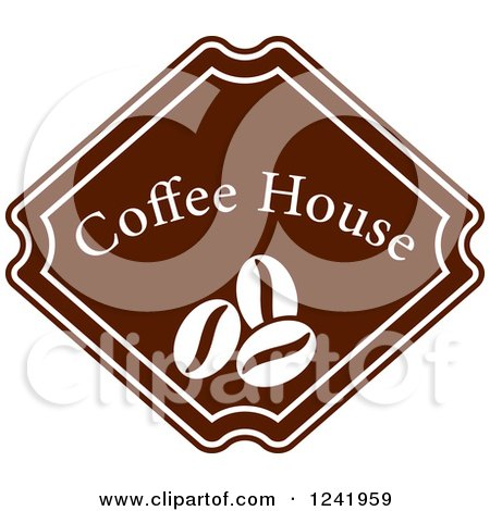 Clipart of a Brown Coffee House Label 3 - Royalty Free Vector Illustration by Vector Tradition SM