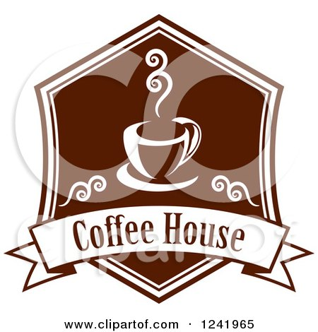 Clipart of a Brown Coffee House Label - Royalty Free Vector Illustration by Vector Tradition SM
