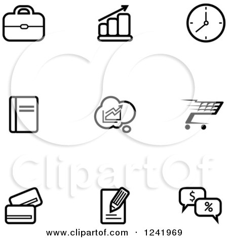 Clipart of Black and White Business and Retail Icons - Royalty Free Vector Illustration by Vector Tradition SM
