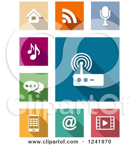 Clipart of Colorful Square Media and Communication Icons - Royalty Free Vector Illustration by Vector Tradition SM