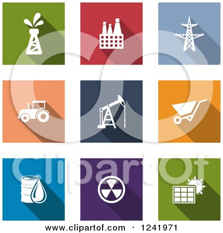 Clipart of Colorful Square Energy and Industrial Icons - Royalty Free Vector Illustration by Vector Tradition SM