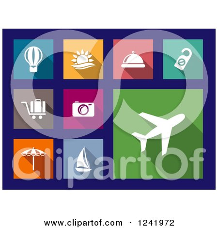 Clipart of Colorful Square Travel Icons - Royalty Free Vector Illustration by Vector Tradition SM