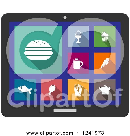 Clipart of a Colorful Food Icons on a Tablet Computer Screen - Royalty Free Vector Illustration by Vector Tradition SM