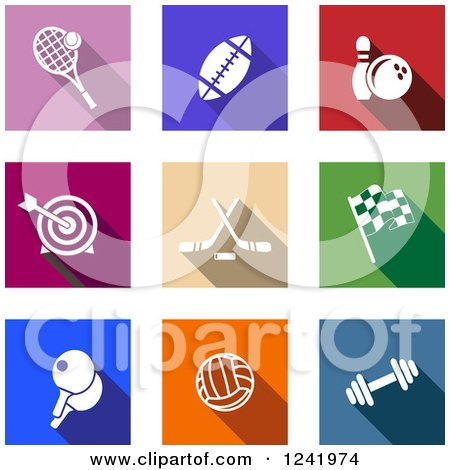 Clipart of Colorful Square Sports Icons - Royalty Free Vector Illustration by Vector Tradition SM