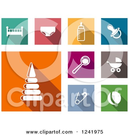 Clipart of Colorful Square Baby Item Icons - Royalty Free Vector Illustration by Vector Tradition SM