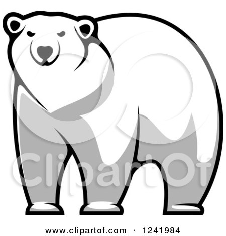 Clipart of a Grayscale Polar Bear - Royalty Free Vector Illustration by Vector Tradition SM