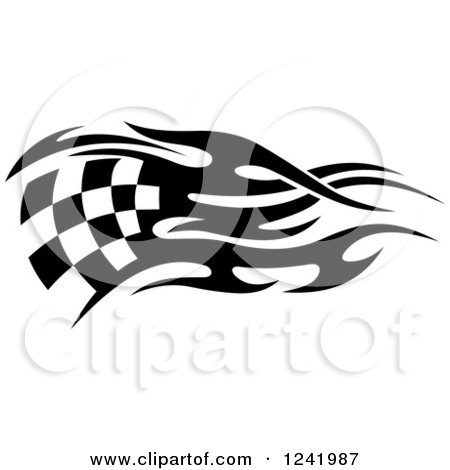 Clipart of a Black and White Flaming Checkered Racing Flag 7 - Royalty Free Vector Illustration by Vector Tradition SM