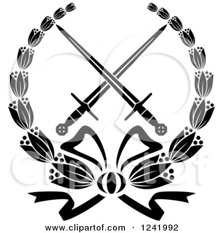 Clipart of Black and White Crossed Swords in a Laurel Wreath - Royalty Free Vector Illustration by Vector Tradition SM