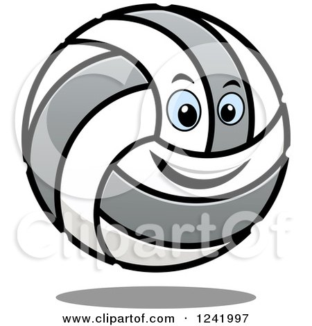 Clipart of a Smiling Volleyball Character - Royalty Free Vector Illustration by Vector Tradition SM