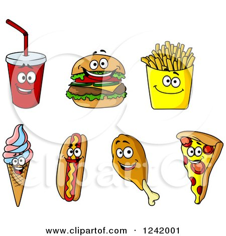 Clipart of Happy Fast Food Characters - Royalty Free Vector Illustration by Vector Tradition SM