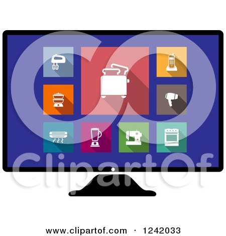 Clipart of a Computer Screen with Colorful Appliance Icons - Royalty Free Vector Illustration by Vector Tradition SM
