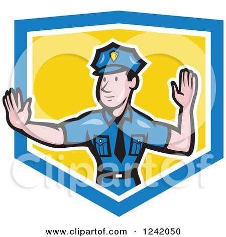 Clipart of a Cartoon Male Police Man Gesturing to Stop in a Shield - Royalty Free Vector Illustration by patrimonio