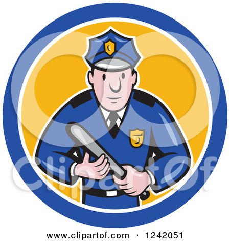 Clipart of a Cartoon Male Police Man Holding a Baton in a Circle - Royalty Free Vector Illustration by patrimonio