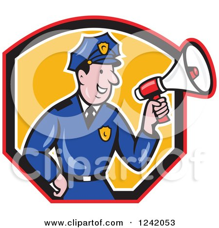 Clipart of a Cartoon Male Police Man Using a Megaphone in a Shield - Royalty Free Vector Illustration by patrimonio