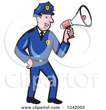 Clipart of a Cartoon Male Police Man Using a Megaphone - Royalty Free Vector Illustration by patrimonio