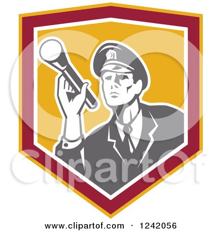 Clipart of a Retro Male Police Officer or Security Guard Shining a Flashlight in a Shield - Royalty Free Vector Illustration by patrimonio
