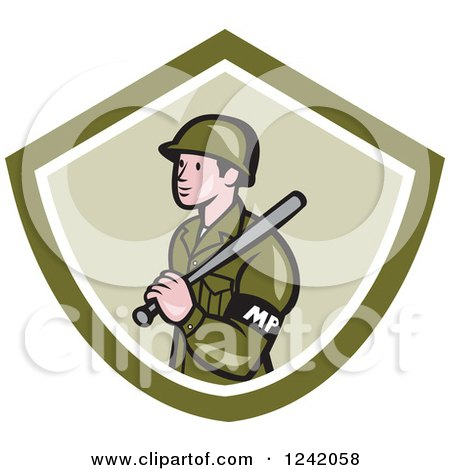Clipart of a Cartoon Military Police Officer with a Baton in a Green Shield - Royalty Free Vector Illustration by patrimonio