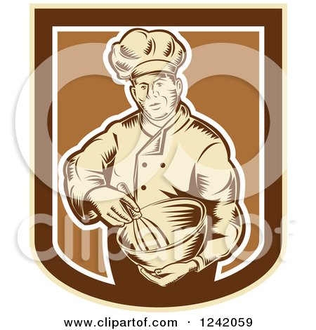 Clipart of a Retro Woodcut Male Baker with a Mixing Bowl in a Crest - Royalty Free Vector Illustration by patrimonio