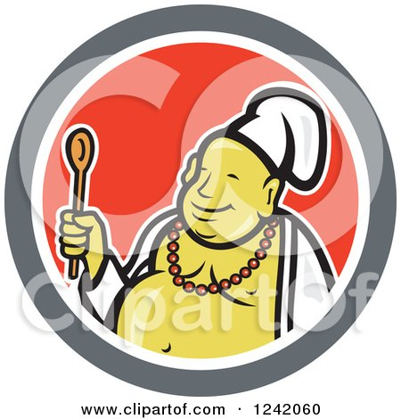 Clipart Of A Happy Chef Buddha Holding A Wooden Spoon In A Circle Royalty Free Vector Illustration
