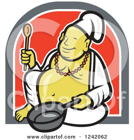 Clipart Of A Happy Chef Buddha Holding A Wooden Spoon And Pan In A Circle Royalty Free Vector Illustration