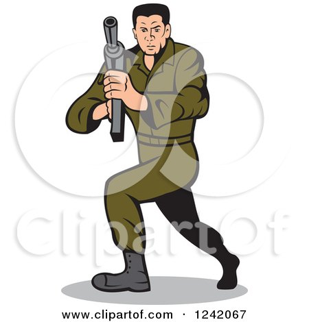Cartoon Army Man Clipart Cartoon Army Soldier Man With
