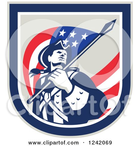 Clipart of a Retro American Revolutionary Soldier Patriot Minuteman with a Flag in a Crest - Royalty Free Vector Illustration by patrimonio