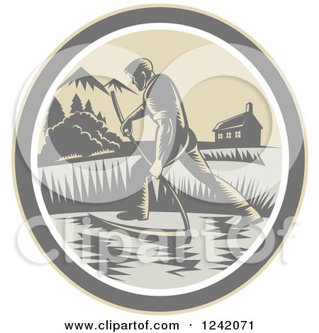 Clipart of a Retro Woodcut Farmer with a Scythe in a Field Circle - Royalty Free Vector Illustration by patrimonio