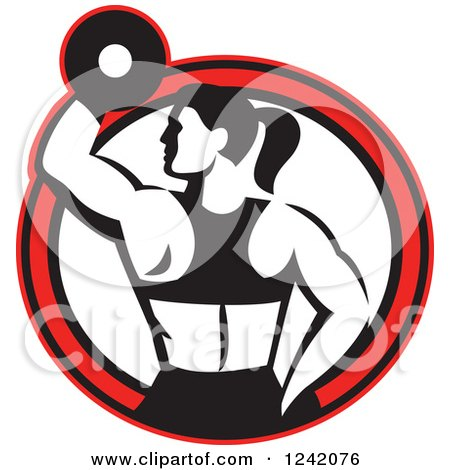 Clipart of a Retro Black and White Fit Woman Working out with a Dumbbell in a Red Circle - Royalty Free Vector Illustration by patrimonio