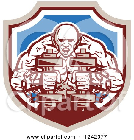 Clipart of a Muscular Strongman Working out with Chains and Dumbbells in a Shield - Royalty Free Vector Illustration by patrimonio