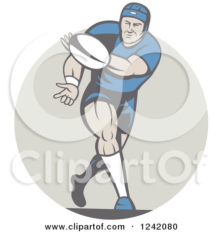 Clipart of a Retro Cartoon Rugby Player Passing a Ball - Royalty Free Vector Illustration by patrimonio