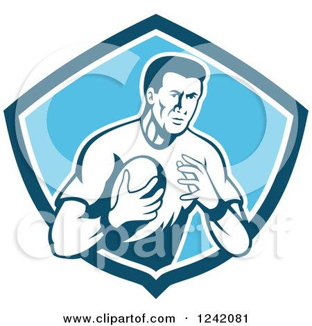 Clipart of a Retro Male Rugby Player with a Ball in a Blue Shield - Royalty Free Vector Illustration by patrimonio