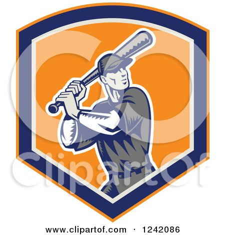 Clipart of a Retro Woodcut Swinging Cartoon Baseball Player Man in a Shield - Royalty Free Vector Illustration by patrimonio
