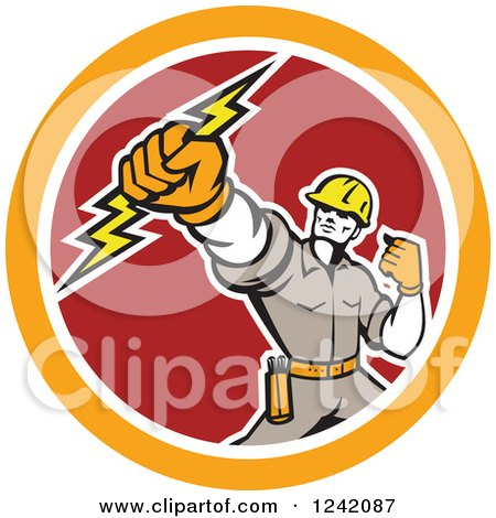 Clipart of a Retro Electrican Holding up a Fist and Bolt in a Circle - Royalty Free Vector Illustration by patrimonio