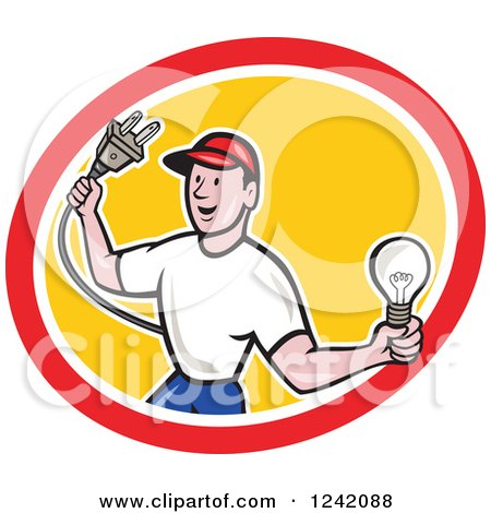 Clipart of a Happy Cartoon Male Electrician Holding a Plug and Lightbulb in a Circle - Royalty Free Vector Illustration by patrimonio